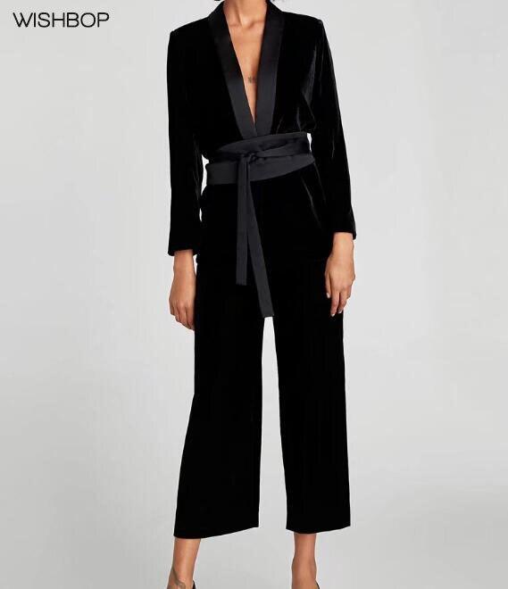 WISHBOP NEW 2017 Woman Autumn Fashion Black VELVET JACKET WITH SASH BELT Tuxedo lapel collar Long sleeves