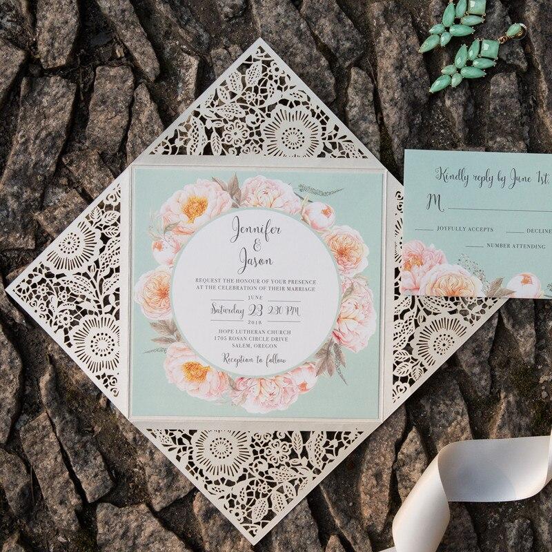 Blank Printable Wedding Invitations: 1 Bag White Square Laser Cut Wedding Invitations Blank