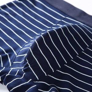 Image 4 - Men Underwear Printed Boxer Male Panties Short Fashion Striped Cueca Boxer Homme Modal Slip Boxershorts L 4XL 4pcs/lot