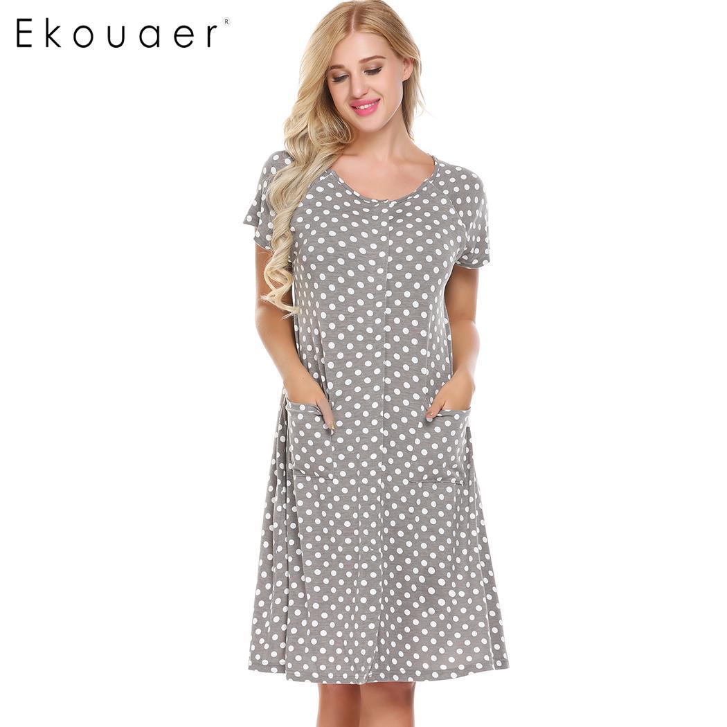 Ekouaer Round Maternity Neck Short Sleeve Button Front Nursing Breastfeeding   Sleepshirts