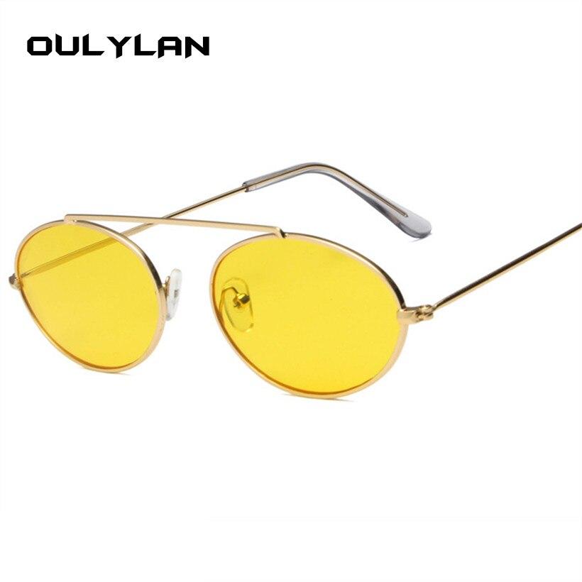 74fa1c8ae37f3 Oulylan Oval Óculos de Sol Do Vintage Rodada Óculos De Sol Das Mulheres  Designer de Marca de Luxo Retro Feminino Vermelho Amarelo Claro Lente de  Óculos De ...