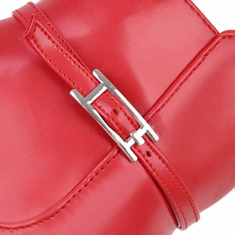 Sıcak Kış Yan Fermuar Rahat Kare Topuk yarım çizmeler Moda Sivri Burun Kadın Ayakkabı Siyah Kırmızı Pembe Beyaz