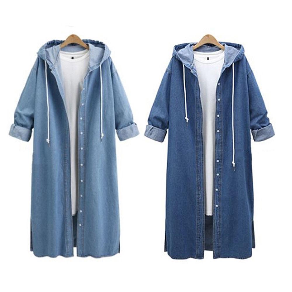 2018 Musim Dingin Hoodies Mantel Mantel Wanita Berkerudung Pakaian Kasual  Lengan Panjang Jaket Denim Panjang Jean c8335d3cc9