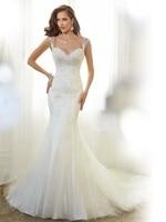 High Quality Mermaid Wedding Dresses 2015 Sweetheart Cap Sleeve Bridal Gowns Appliques Low Back Organza Vestido De Noiva MW3175