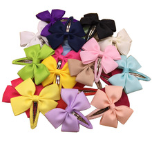 20pcs/lot 2.5″ Korean Hair Bows BB Snap Clips For Girls Toddlers Grosgrain Ribbon Bow Chiffon Bowknot HairPin Hair Accessories