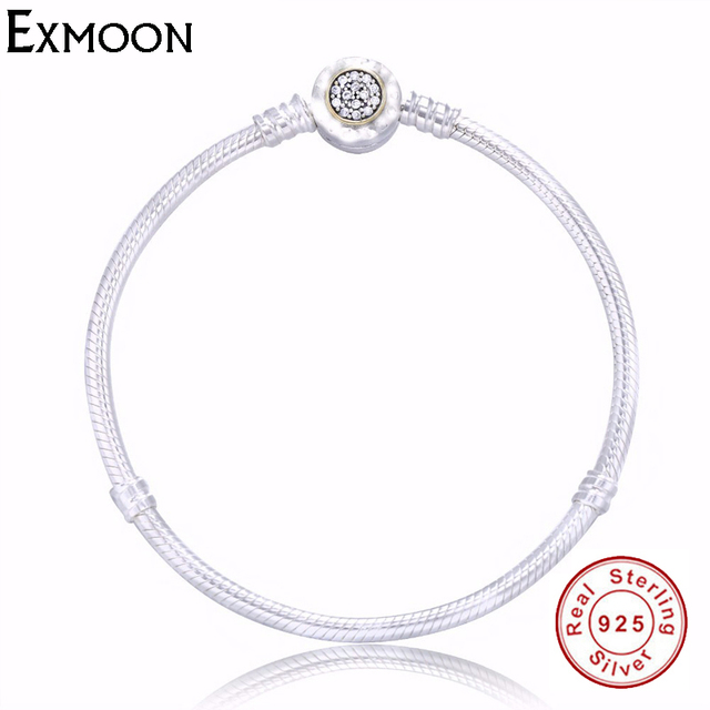 Authentic S925 Sterling silverJewelry Snake Chain Bracelets Bangle Fit Pandora Charms Bracelet beads For Women Valentines gift