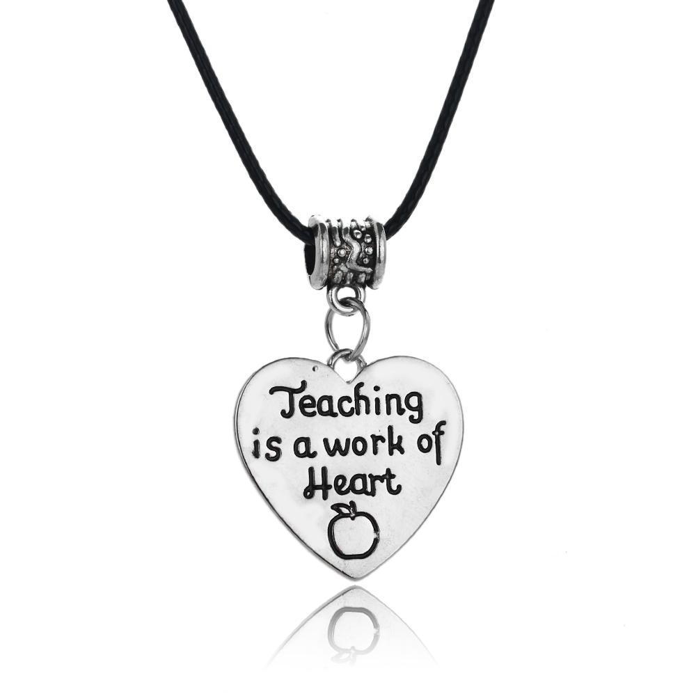 24PC/Lot Engraved Apple Teaching Is A Work Of Heart Pendant Necklace Teachers Leather Rope Jewelry School Party Xmas Collar Gift