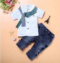 Children Set 2019 Summer Fashion Handsome Baby Boy clothes Short Sleeve T-Shirt + Denim Pants +Scarf Three-Piece  FZ8004