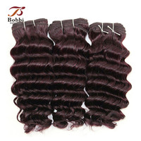 3 Bundles Brazilian Hair Weave Bundles Deep Wave 12 Inch Color 99j Dark Wine Fashion Color