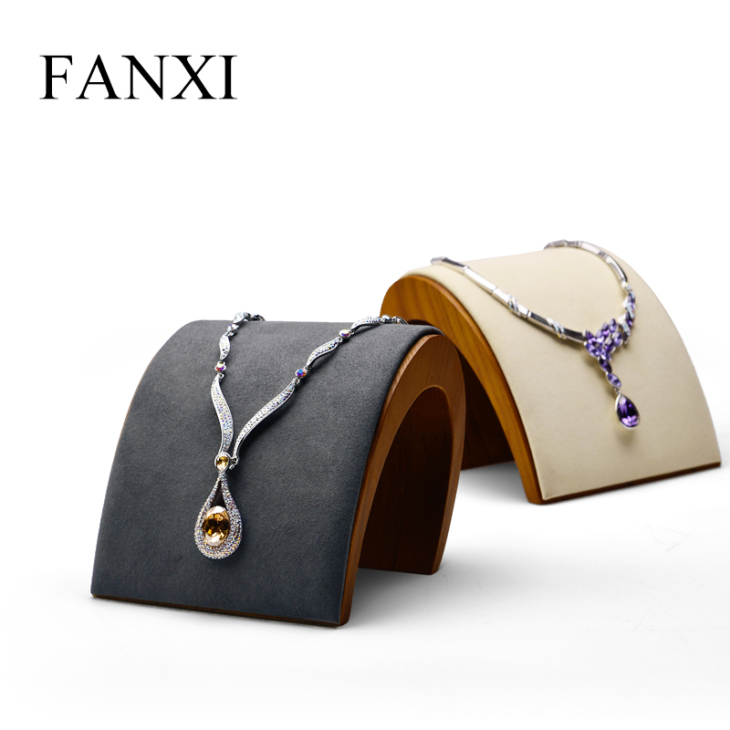 FANXI Jewelry Display Wooden Necklace Display Jewelry Stand Arched Necklace Holder Showcase with Soft sponge for