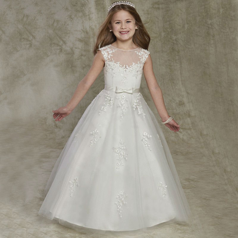 Lace Flower Girls Dresses Sleeveless First Communion Dresses For Little Girls A-Line Ankle-Length Kids Evening Gowns blue pageant dresses for little girls a line spaghetti straps solid appliques crystal lace up flower girl first communion gowns