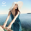 2017 new sun hat Summer hats for Women Ladies' Foldable Wide Imported rice straw Large Brim Floppy Hat beach Sun Straw hat Women