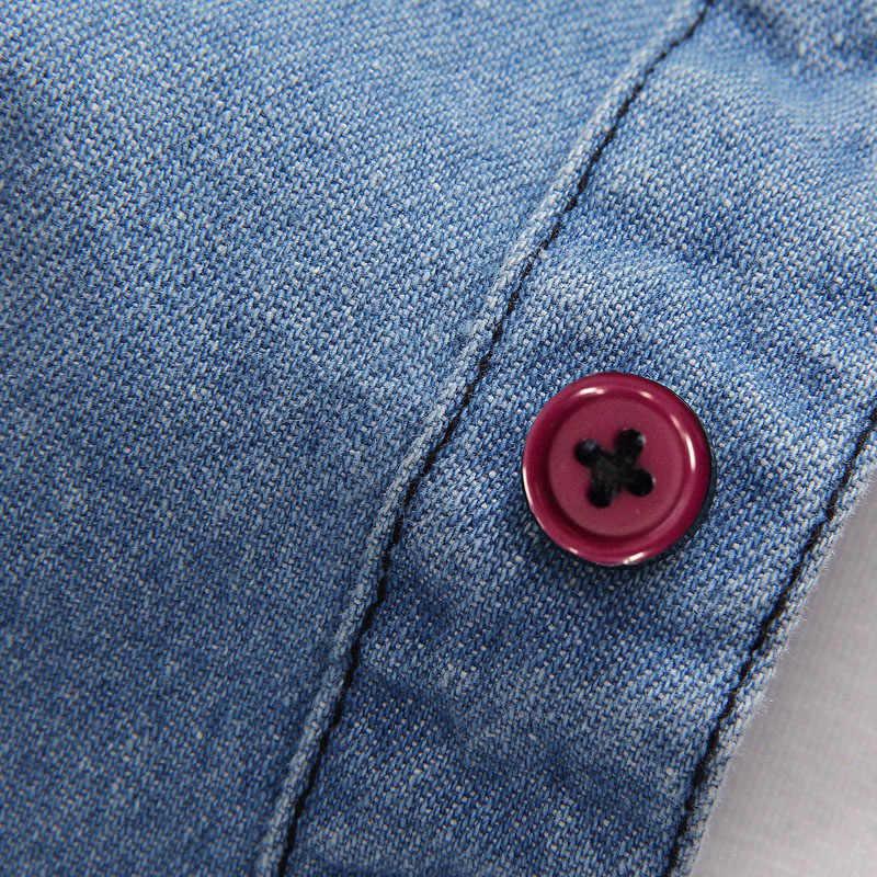 Мужские весенние джинсовые рубашки, мужские Модные Повседневные тонкие рубашки с длинными рукавами, высококачественные хлопковые ковбойские рубашки, Размер 3XL