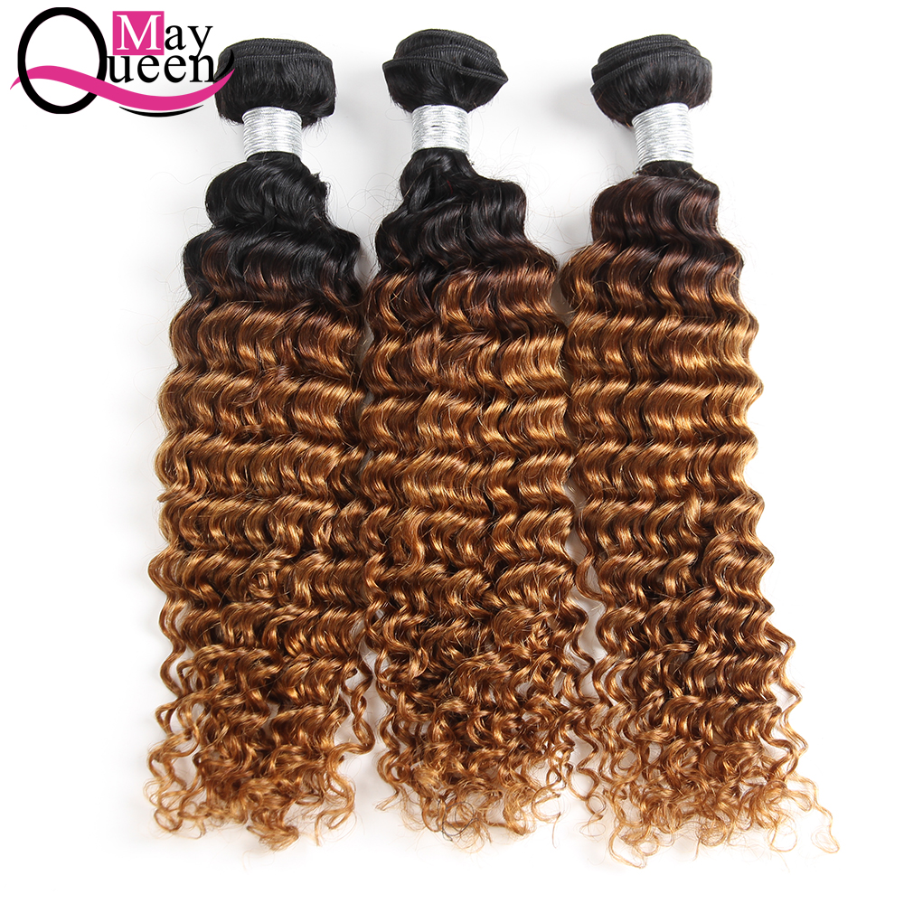 May Queeen Hair Brazilian Deep Wave Ombre 1B 30 Two Tone Human Hair Weave Bundles 3 Pcs Remy Brazilian Hair Extensions