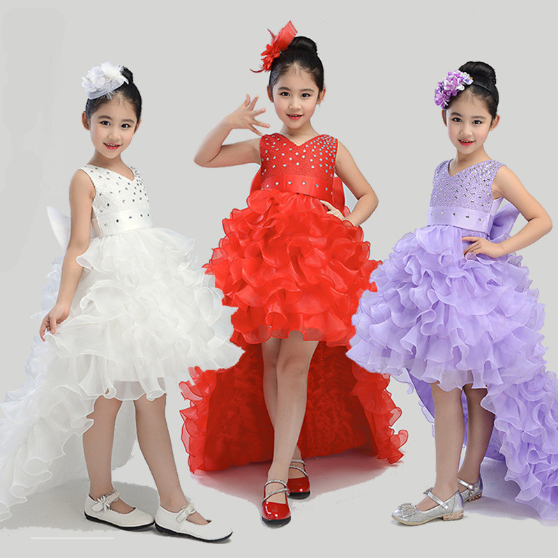 Ball Gown Glitz Trailing Tiers Puffy Fancy Flower Girls Party Ceremony Dresses Kids Baby Dovetail Clothes Carnival Costume