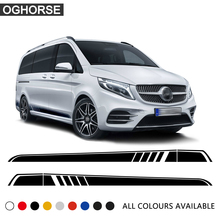 2Pcs Door Side Stripe Skirt Sill Stickers Vinyl Decal for Mercedes Benz Vito Viano V Class w447 v260 2014-2019 Accessories