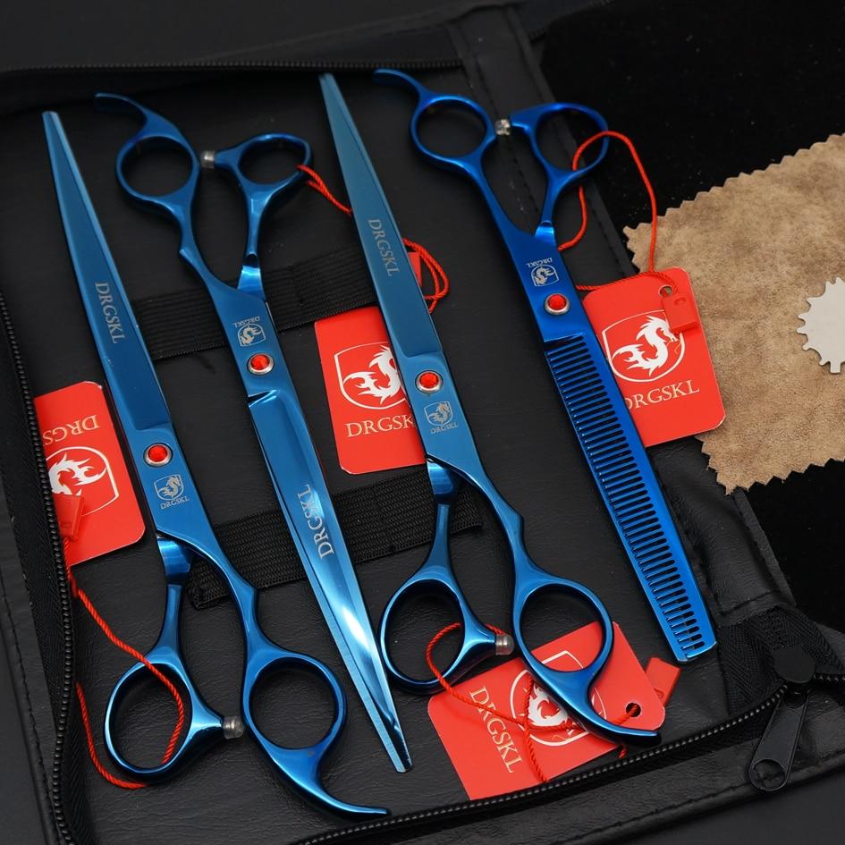 DRGSKL blue paint 8.0' pet hair scissors dog scissors suit, 4 PCS professional dog beauty scissors pet grooming scissors pet dog