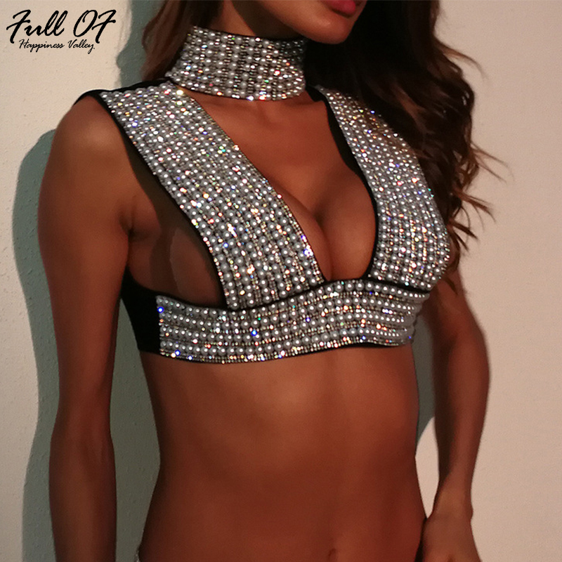 d79771a26a8 Novelty Sexy Women Metal Chain Crystal Diamond Tank Camis Tops 2018 luxury  Night club Silver pearl