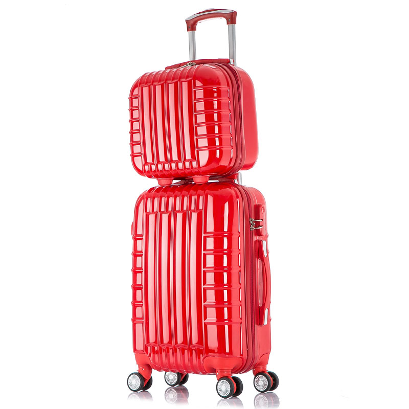 цена на 20 24 Inch universal wheel rolling Carry-Ons luggage travel case new Red married ABS PC suitcase Men's Women's One set trolley