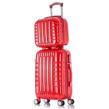 20 24 Pulgadas universal de rueda rueda del balanceo Equipaje de mano equipaje estuche de viaje nueva ABS PC maleta Roja casada mujeres de Los Hombres Un conjunto carro