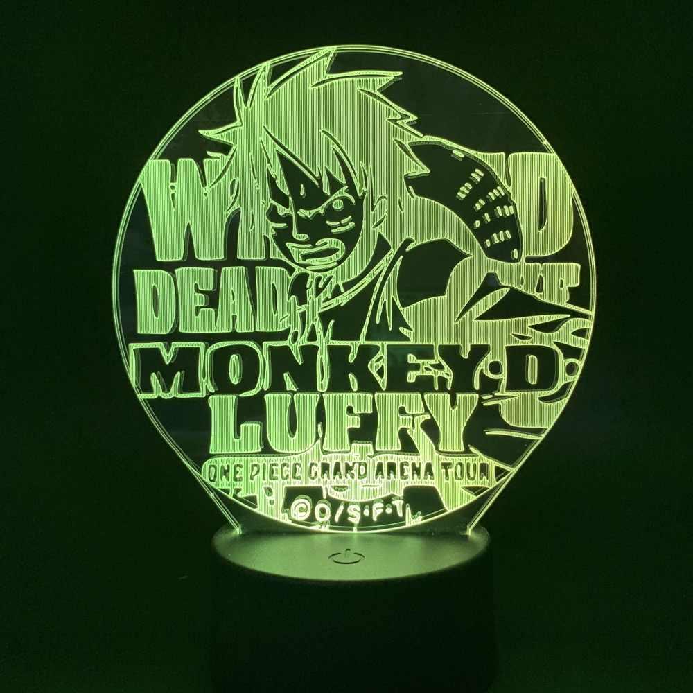 Одно изделие Обезьяна D. Luffy 3D свет Луффи мультфильм ночник светодиодный для детей изменение цвета декорации фонарик, рождественский подарок