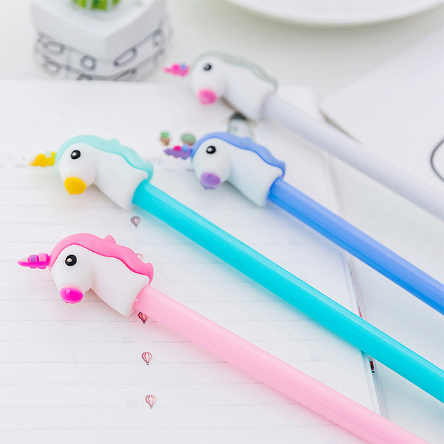 Colorful Unicorn 0.38 mm Black Ink Plastic Ballpoint Pens
