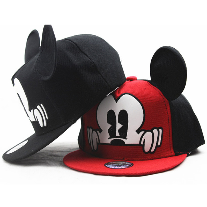 Fashion Cartoon Kids Hat Boy And Girl   Baseball     Caps   Cute Mouse Mickey   Baseball   Hat With Ears Flat   baseball     Cap   Baby Travel Hats