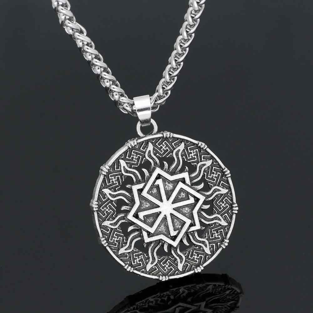 Nordic Pagan ไวกิ้ง Valknut สร้อยคอ Slavic Amulet Sun ดอกไม้โบราณเงินผู้ชายเครื่องประดับ Steampunk ทิเบตศาสนาชาย sol