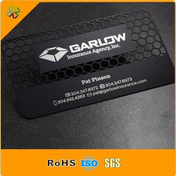 150pcs/lot 80*50mm stainless steel metal material logo cutting through plated with matte black steel name card