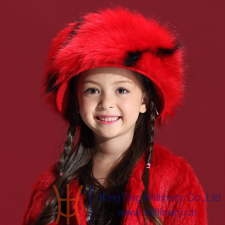 Children Winter Hats 2014 New 100 Wool Red Hair Accessories Caps Hot Russian Style Warm Faux