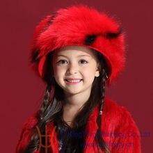 Дети зима шляпы 2014 новый 100% шерсть красный аксессуары для волос шапки горячей русский стиль теплый искусственного меховые шапки и шапки