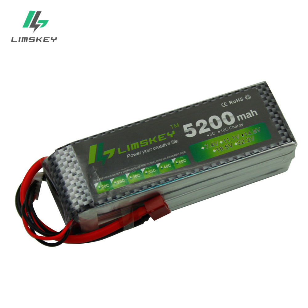 Limskey POWER <font><b>Lipo</b></font> Battery <font><b>4S</b></font> 14.8v <font><b>5200mah</b></font> 30c T/XT60 Plug RC Helicopter RC Car RC Boat Quadcopter Remote Control toys Battey image