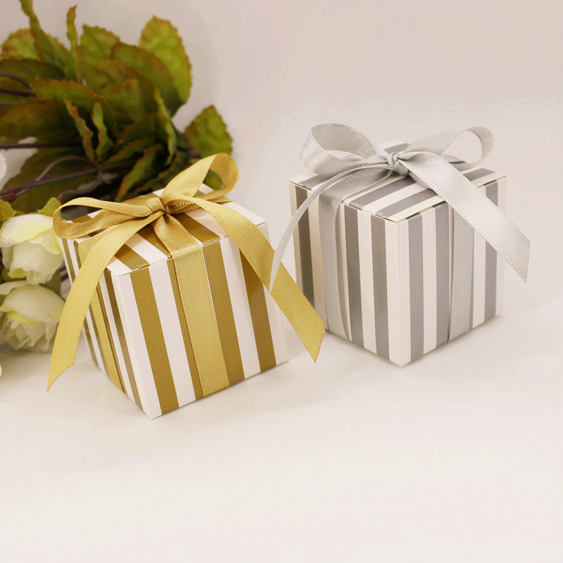 50pcs Small Square Silver Gold Stripe Dream Wedding Candy Box Birthday Gift