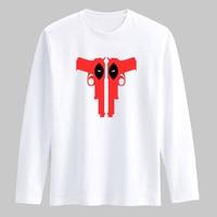 Deadpool Gun 3xl Cotton T Shirt Men Funny Dead Pool TShirt Men Long Sleeve Autumn New Fashion in Long Sleeve Cotton Tee Shirt