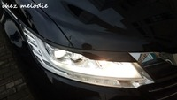 NOBLESSE Style 1pair Primer Unpainted Glossy Black Painted ABS Car Headlight Lips Brows For HONDA ODYSSEY