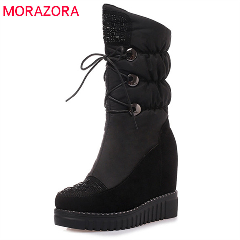 MORAZORA 2019 top quality cow suede leather ankle boots for women round toe wedges platform shoes winter snow boots female MORAZORA 2019 top quality cow suede leather ankle boots for women round toe wedges platform shoes winter snow boots female