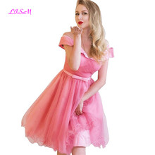 Pink Off Shoulder Homecoming Dresses for Juniors Short Tulle Pleated A-Line Prom Gown Empire Mini Party Dress graduated short sleeve off shoulder blouses for kids tulle polyester sequin party dresses