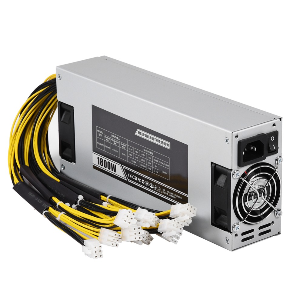 For Antminer R4 Gold Dual Fan Good Heat Dissipation 1800w 93% Mining Dedicated Power Supply 6pin For A4 A6 A7 D3 E9 L3 S7 S9 T9 Diversified In Packaging