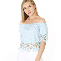 2018 Summer Tops Short Sweet Women T shirt Slash Neck Office Beading Strapless Lace Hollow Out Sexy Solid Tumblr Tops Tee Shirts