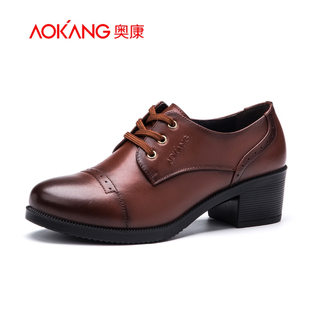 Aokang 2016 Spring New Arrival Women British Style Shoes High Heels Shoes Fashion Ladies Shoes
