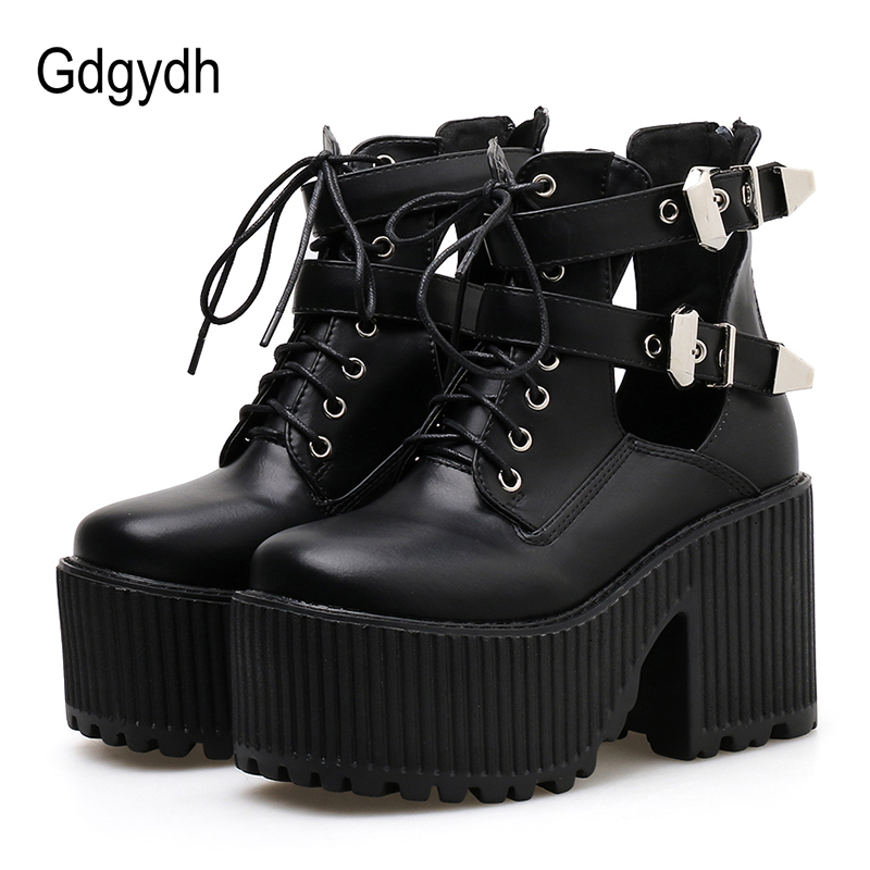 Gdgydh Block Heels Ankle Boots For Women Platform Shoes Punk Shoes Fashion Buckle Rubber Sole Square Toe Ankle Strap Black Shoes