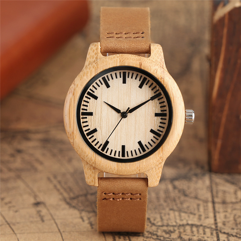 2017 New Arrival Women Style Quartz Wristwatch Hand-make Bamboo Wooden Case Small Size Genuine Leather Band Elegant Ladies Watch new arrival bamboo men wristwatch classic arabic number dial genuine leather band strap trendy gift quartz watch
