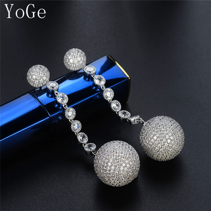 YoGe statement Jeweller E50788 Luxurious discoball shaped AAA CZ long drop earrings brilliant