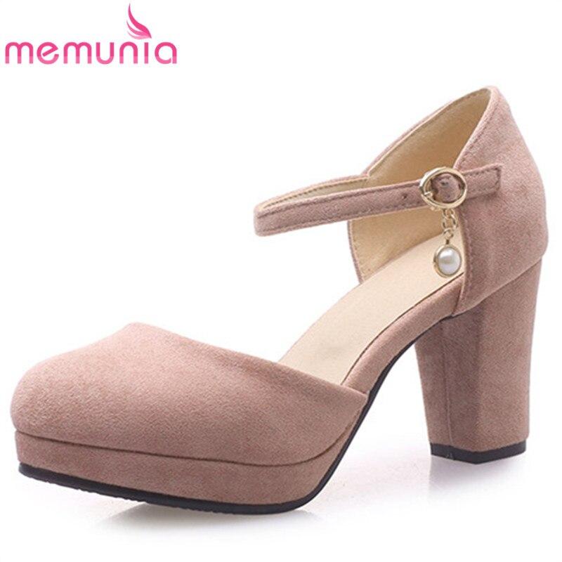 MEMUNIA 2019 Fashion Hot Sale Women Pumps Flock Buckle Summer Shoes Square High Heels Platform Shoes Sweet Prom Shoes Woman