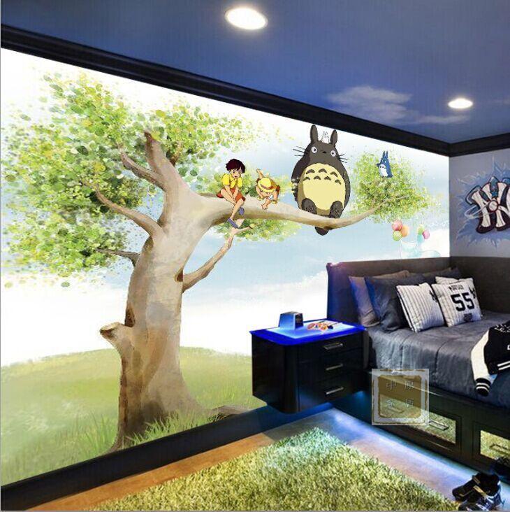 Children Room Background Wallpaper Cute Cartoon Totoro Bedroom Anime Nursery Wallpaper Film And Television Wall Murals Background Wallpaper Nursery Wallpaperwall Mural Aliexpress