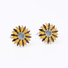 Trendy Enamel Sun Flower Cufflinks Novelty Yellow Bee Cuff Link For We