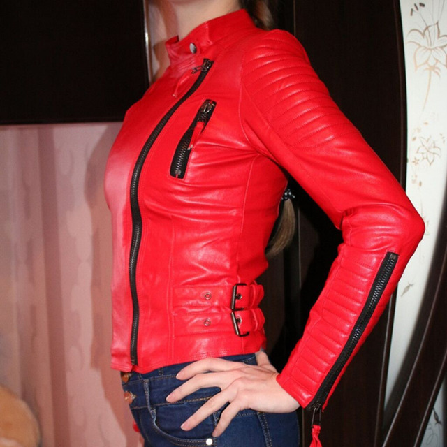 0411977e2cce Women faux leather jacket long sleeve PU coat red big size XS-XL motorcycle  biker