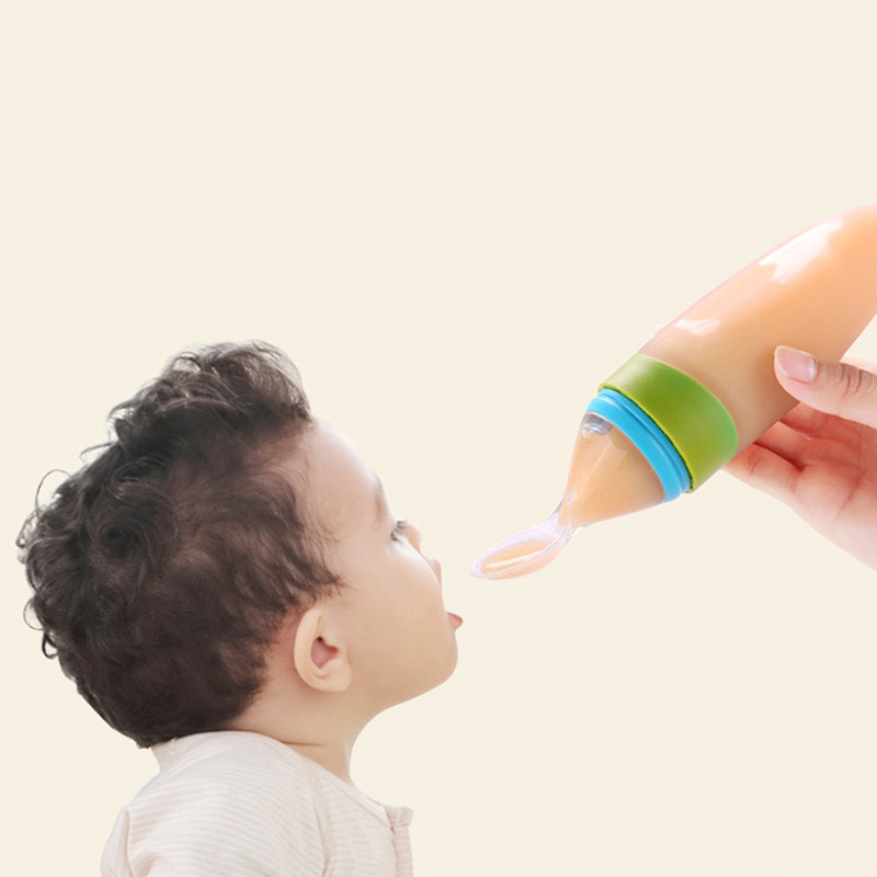 Silicone Baby Feeding Bottle With Spoon Food Supplement Rice Cereal Bottle Baby Squeeze Spoon Silica Gel dropshipping New