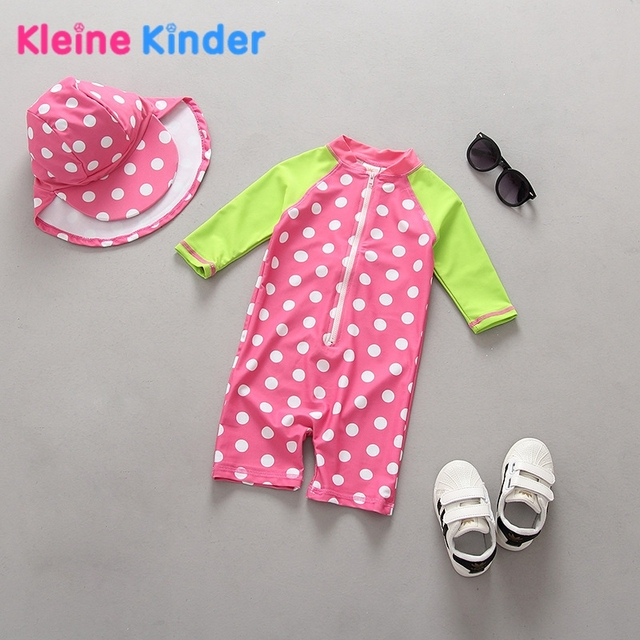 d90fd6476 0-36 months Baby Swimwear Anti-UV Sunblock Long Sleeve One Piece Swimsuit  Girl