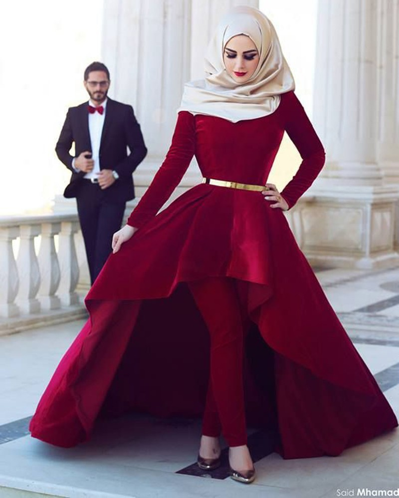 a21031fe4d3 2016 Muslim Evening Dresses Ball Gown High Low Wine Red Velvet Hijab  Islamic Dubai Abaya Kaftan Long Evening Gown Prom Dress